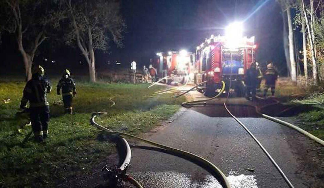 Drei Feuerwehren beim Brand eines Holzstoßes im Einsatz